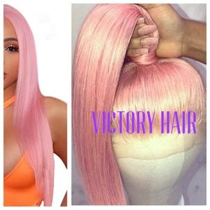 straight pink long lace front wig.Human Hair Blend